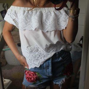 White ruffle crochet off the shoulder crop top